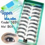 ขนตาปลอมบนแกนไหมสีดำแซมสีฟ้ารหัส SED11