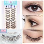 ขนตาปลอมบนแกนไหมสีดำแซมน้ำตาลอ่อนรหัส SED18